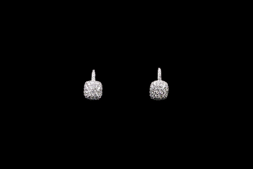 18K White Gold Cushion Earring