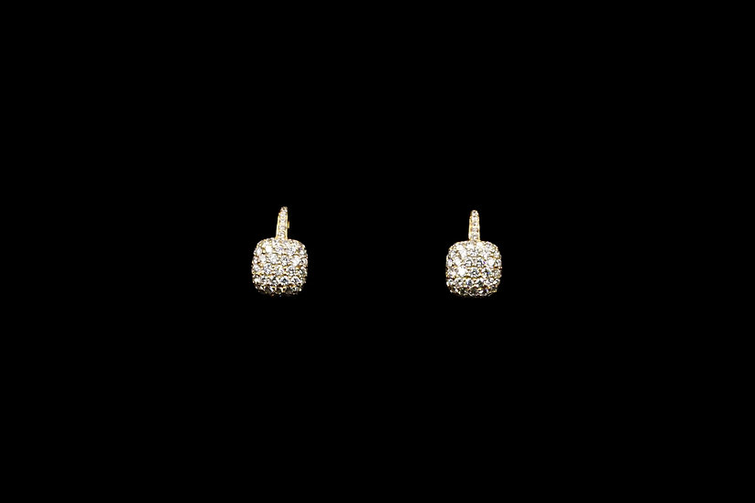18K Rose Gold Cushion Earring