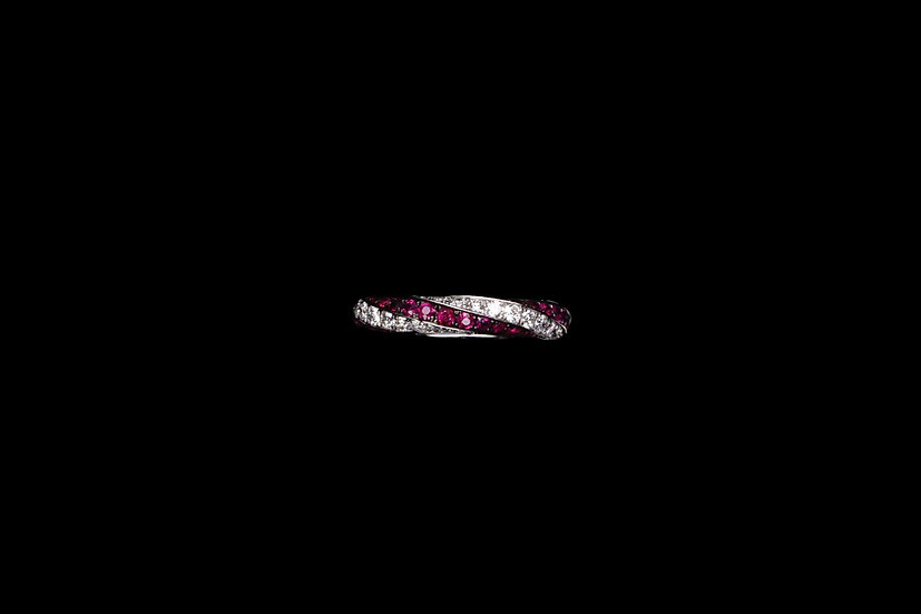 Ruby and Diamond Spiral Ring