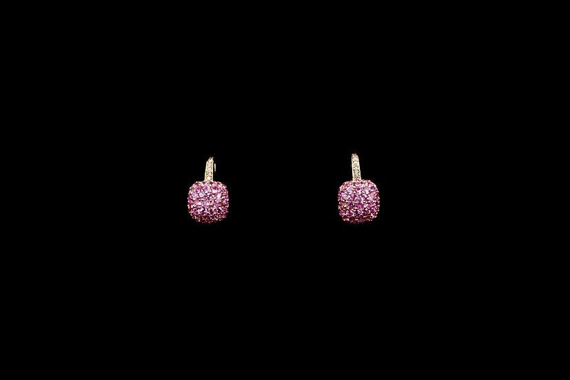 18K Pink Sapphire Cushion Earring