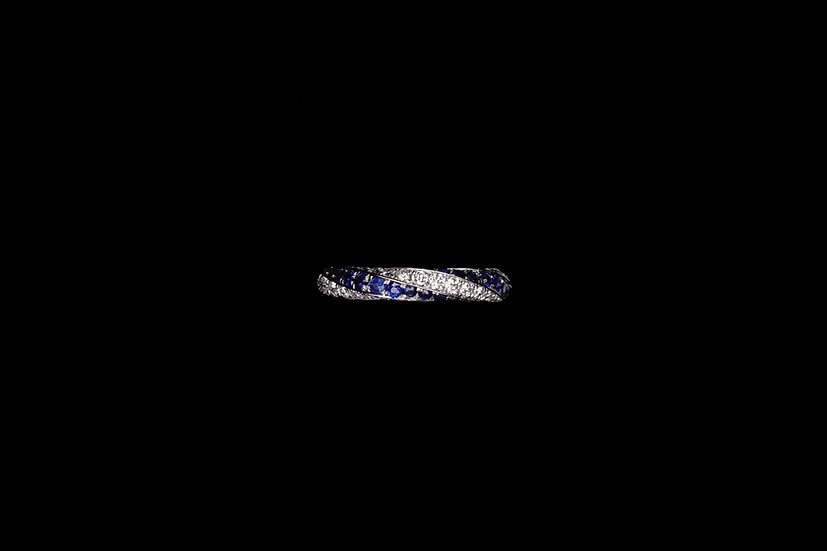 Sapphire and Diamond Spiral Ring