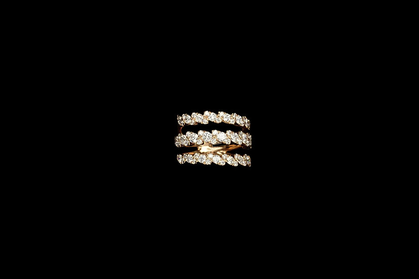 18K 3 Row Diamond Ring