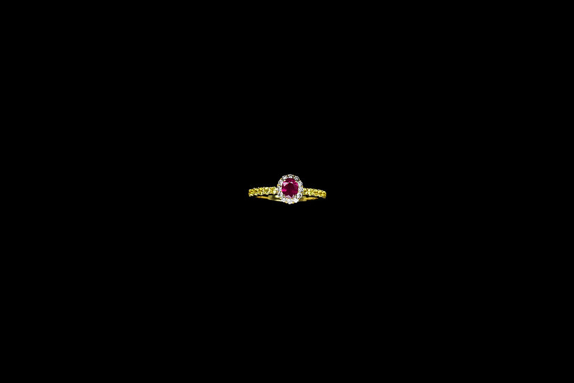 Ruby and Blue Sapphire Diamond Ring