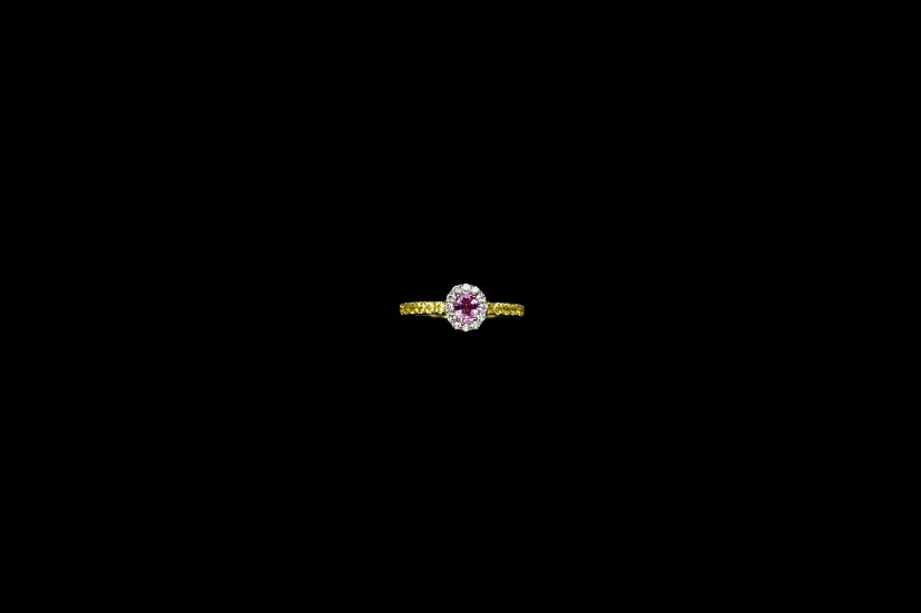 Pink and Yellow Sapphire Diamond Ring