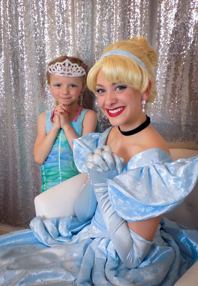 Princess Cinderella poses with little birthday girl after coronation ceremony!