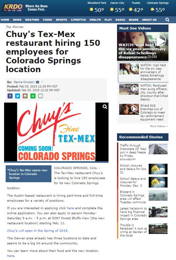 Colorado Springs Media Relations