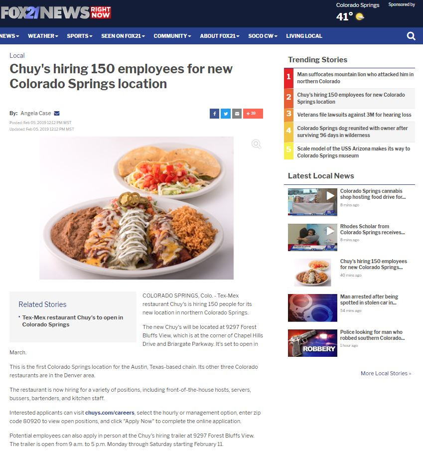 Chuy's in Colorado Springs opening soon