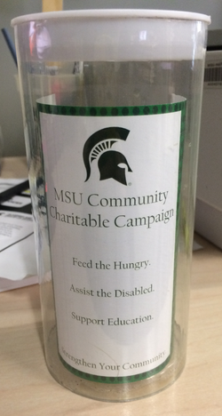 MSU Coin Donation Tube