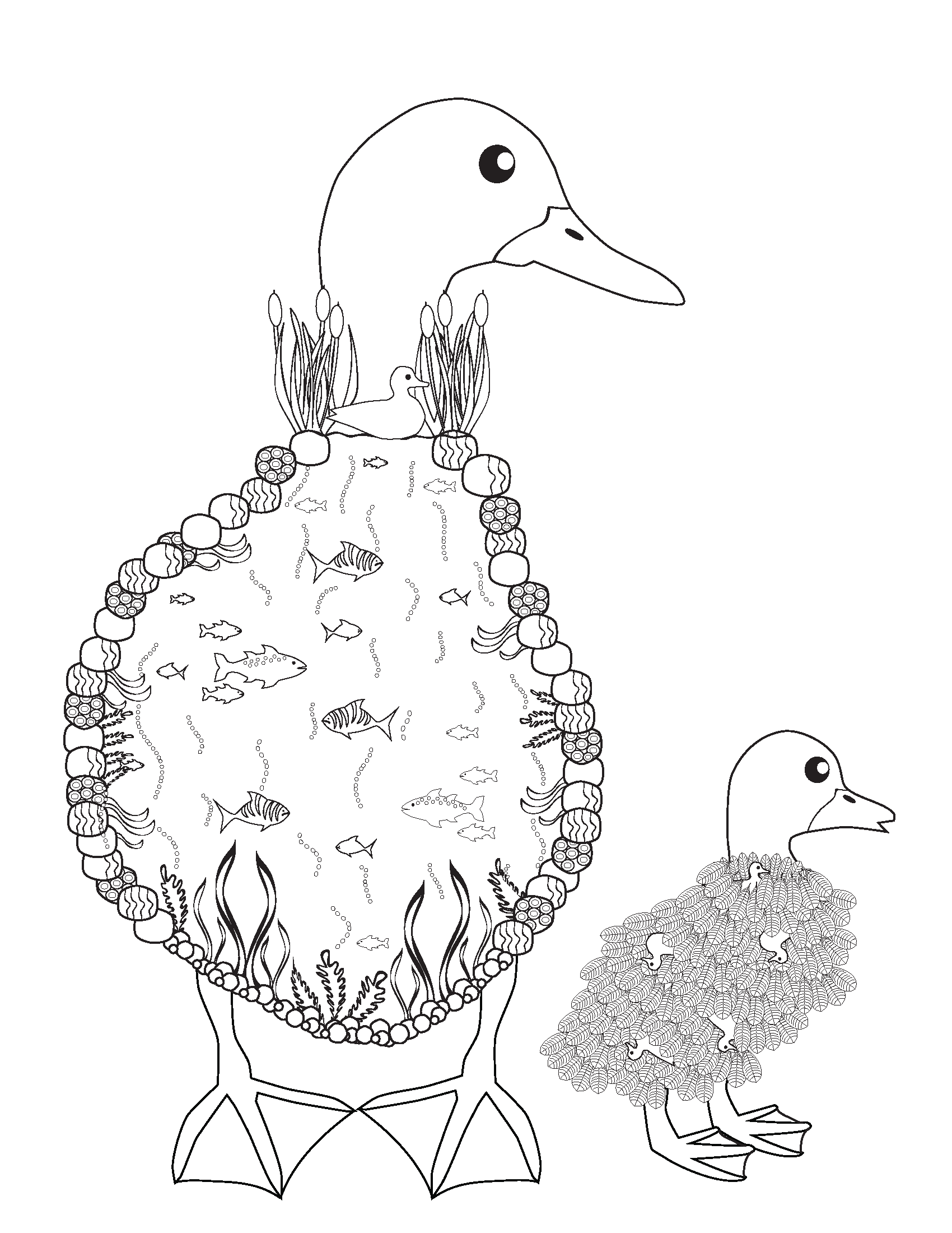 Ducks Coloring Book page