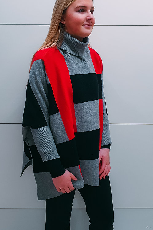 Grey & Red Poncho