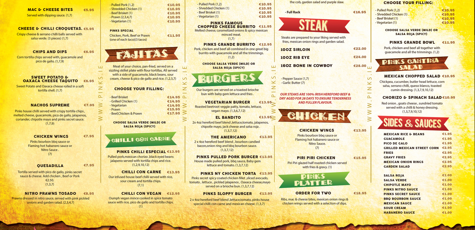 Pinks main menu