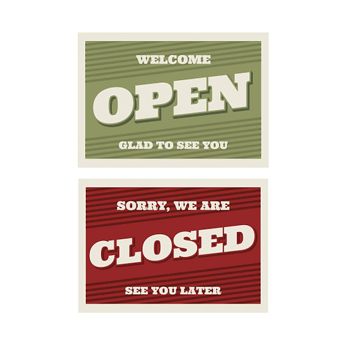 Open Closed Sign A4 2 SidedPrinted on vinyl and laminated on a 5mm pvc board