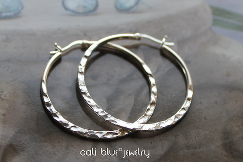 Cali Blue Jewelry Sterling Silver Hammered Hoops