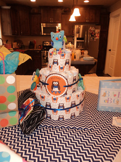 Diaper cake with decorations