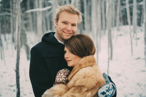bröllopsfoto Umeå brudpar vinter