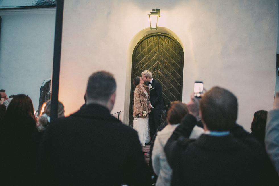 bröllopsfoto Sundsvall kyrktrappan