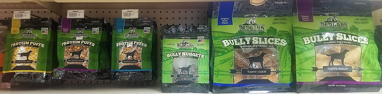 Red Barn Protein Puffs, Bully Nuggets & Bully Slices