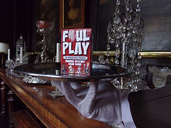 Foul Play card game on silver tray