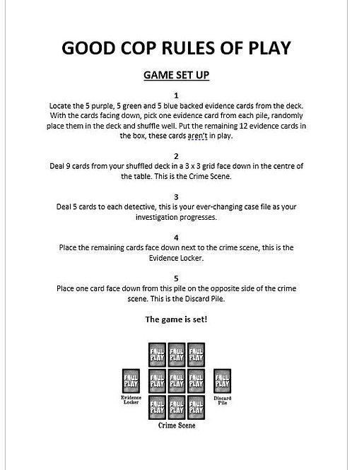 Good Cop Rules of Play : No Frills