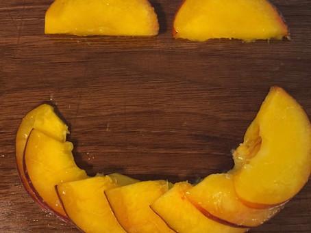 How do you slice a peach?