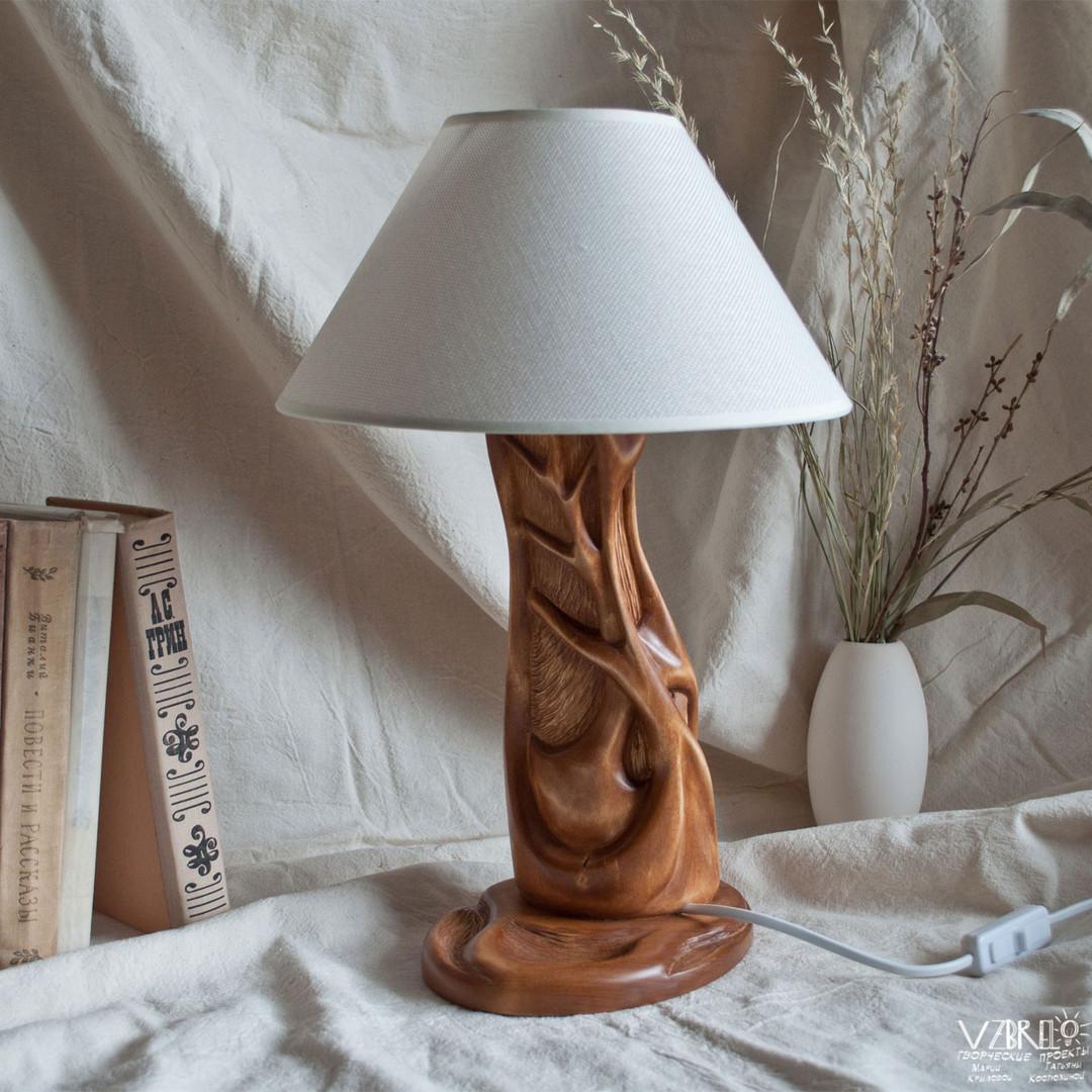 """Настольная лампа """"Древо"""", липа, морилка, воск"""