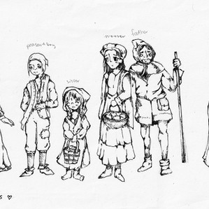 Character designs created by a participant, for a comic inspired by a medieval coin (half siliqua)