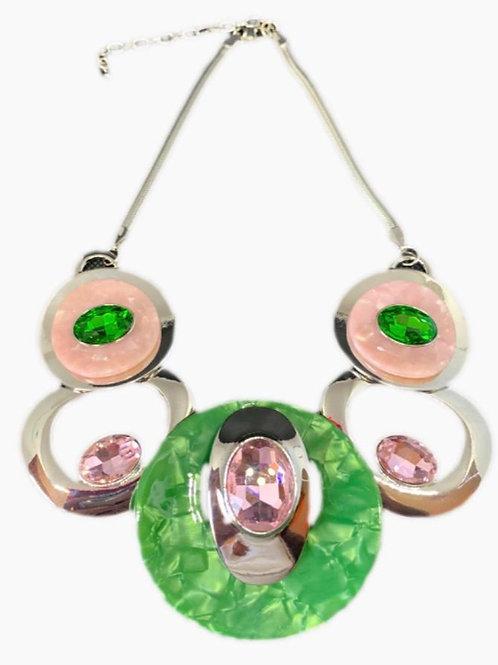 Glass Stone Statement Necklace