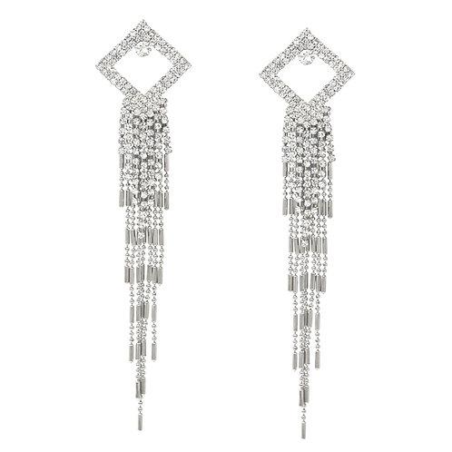 Square Chain Fringe Earrings