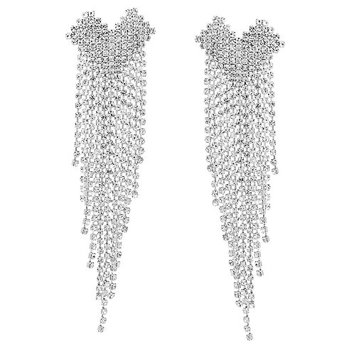 Rhinestone Heart Fringe Earrings