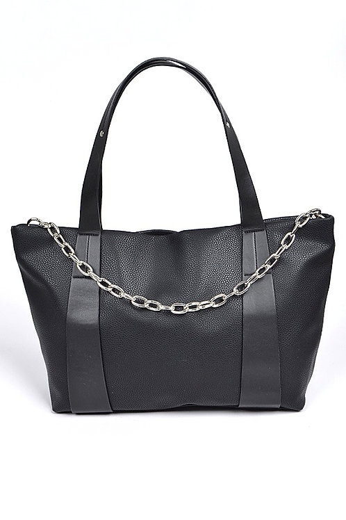 Leather Shoulder Bag w/Chain