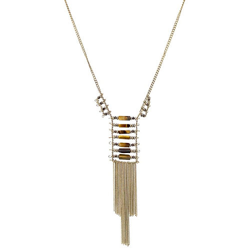 Tiger Eye Tassel Fringe Necklace