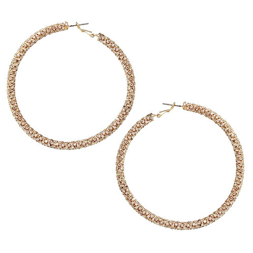 Large Rhinestone Wrapped Hoop Earrings