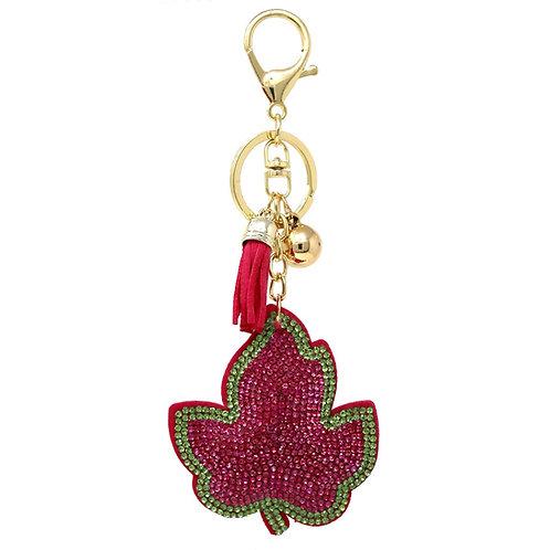 Rhinestone Ivy Leaf Key Chain