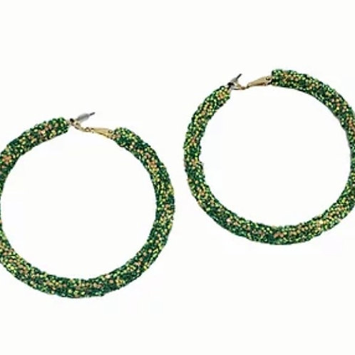 Green Sequin Hoop Earrings