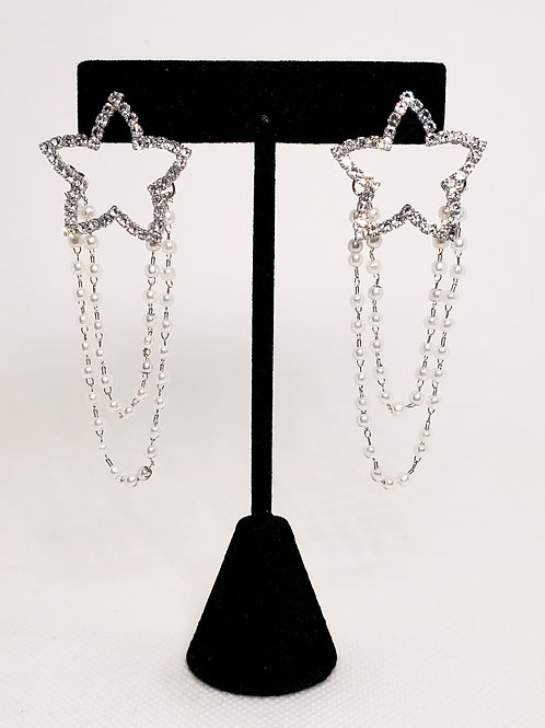 Star Pearl Drop Earrings