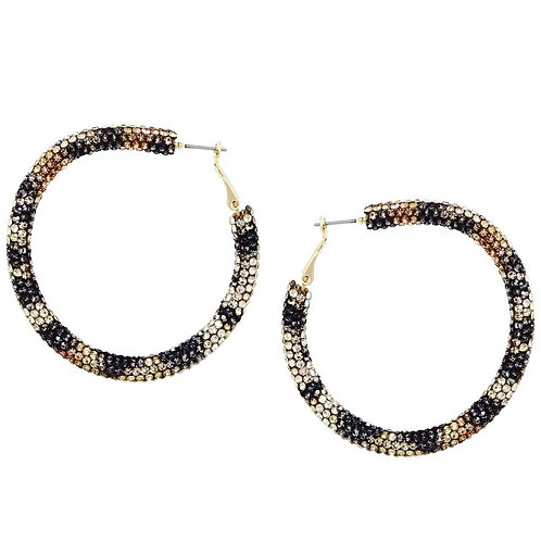Leopard Rhinestone Hoop Earrings