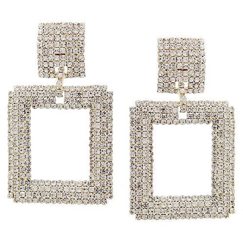 Rhinestone Square Earrings