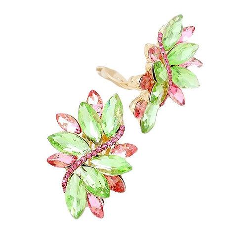 Swirl Crystal Cluster Earrings