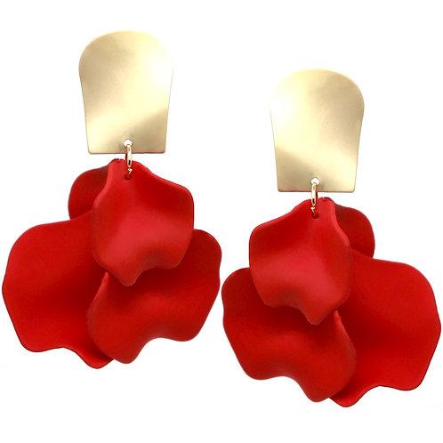 Red Petal Earrings