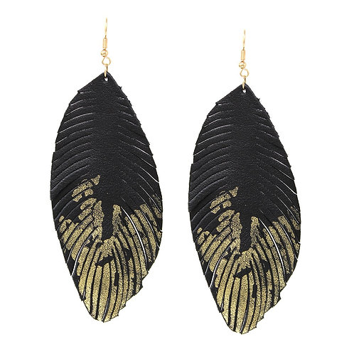 Foil Feather Drop Earrings