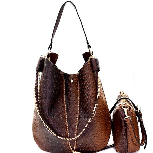 Ostrich Embossed 2 in 1 Expendable Chain Hobo