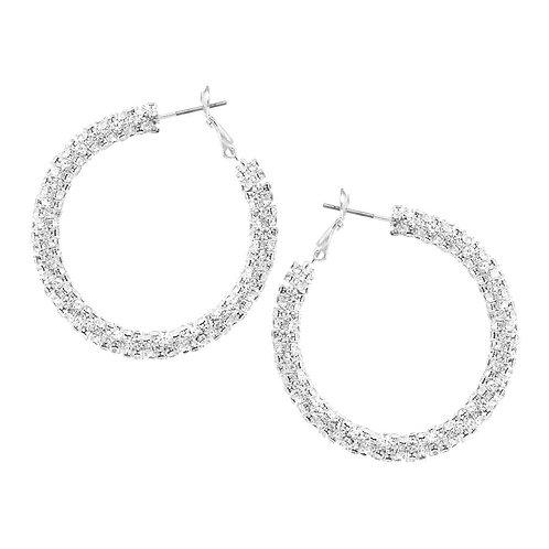 Medium Rhinestone Wrapped Hoop Earrings