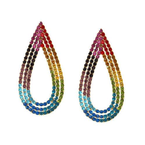 Multicolor Rhinestone Teardrop Earrings