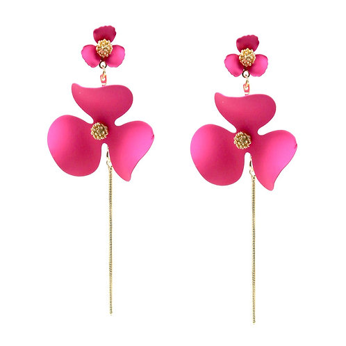 Fuschia Flower Earrings