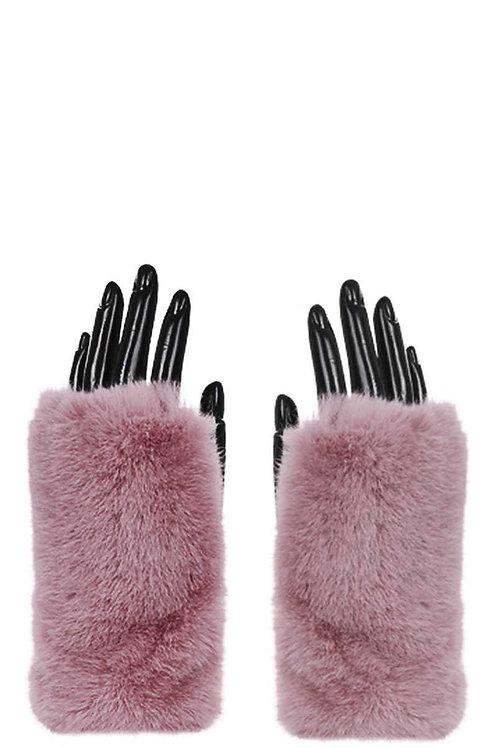 Fur Cuff Fingerless Gloves