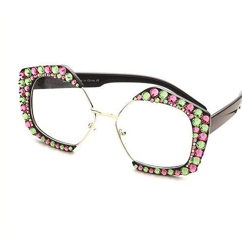 Crystal Embellished Clear Lens Glasses