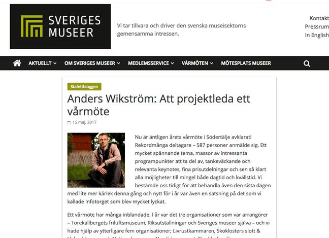 Anders tankar om att projektleda Sveriges Museers Vårmöte
