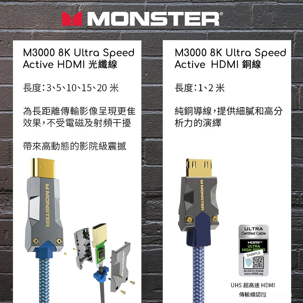 齊備最新 8K HDMI 功能 Monster怪獸線 M3000 HDMI 8K 線 |  UHS超高速HDMI認證 | Monster 光纖HDMI線