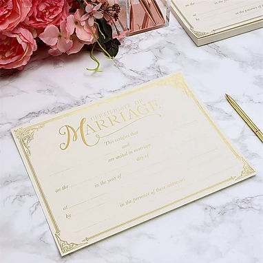 Marriage Certificates with Gold Foil Edg