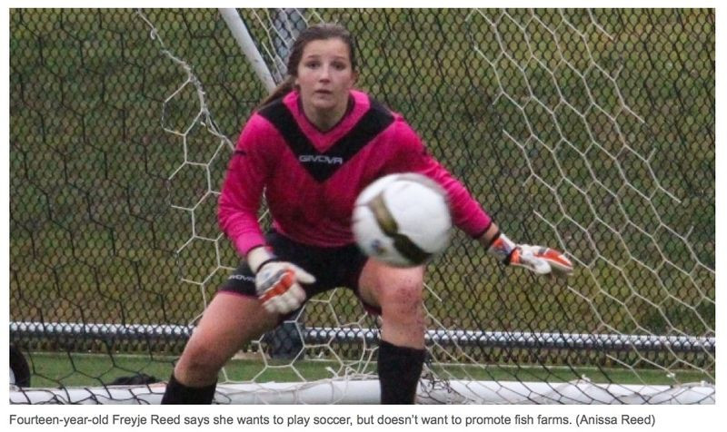 Shout out to Freja Reed, a young soccer player from Comox, who refuses to wear sponsored jersey from